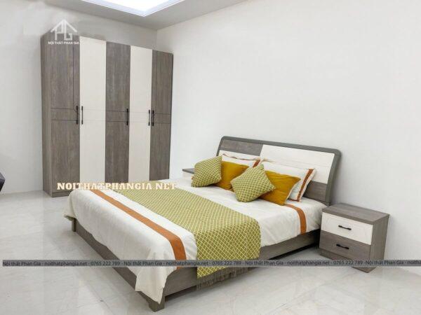 bộ giường tủ hiện đại tone xám 936ZT