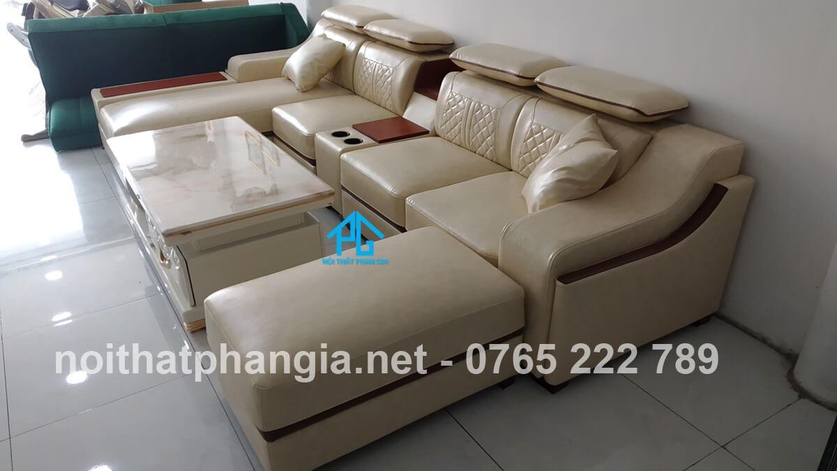ghế sofa da đẹp hiện đại e16b