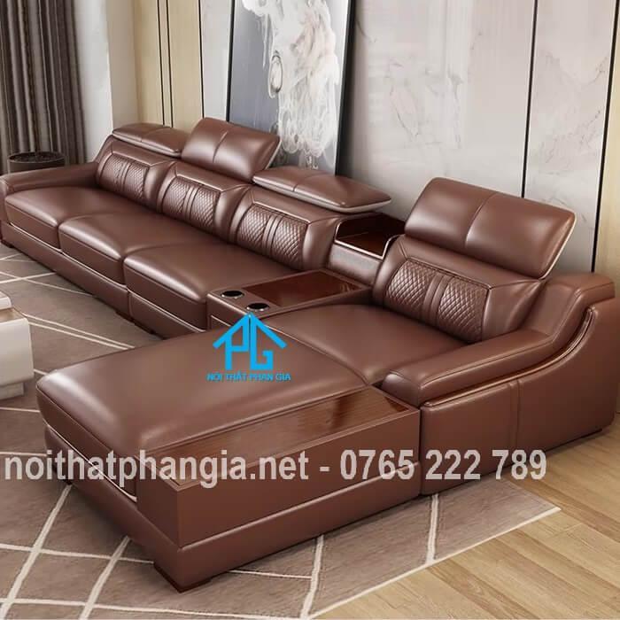 mẫu ghế sofa da e16b cao cấp