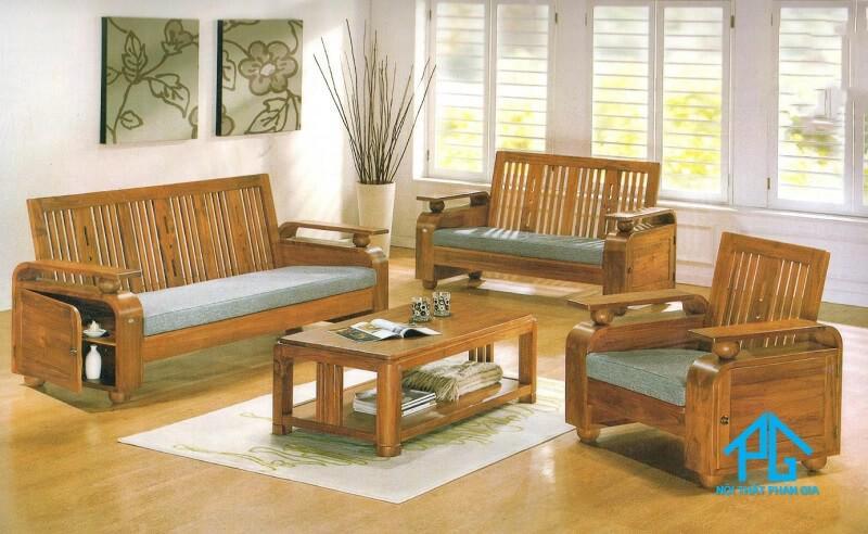 salon gỗ sồi tự nhiên đơn giản