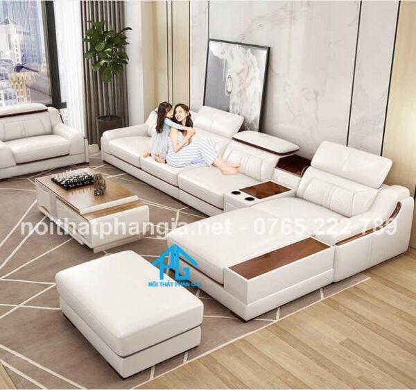 sofa da e16b cho phòng khách