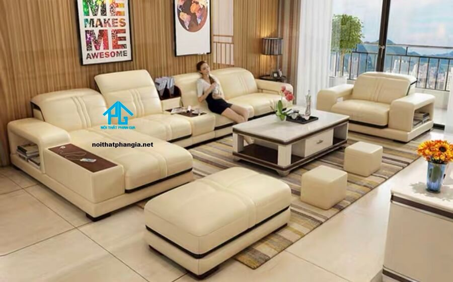 Sofa da hiện đại E18 (TRỌN BỘ )