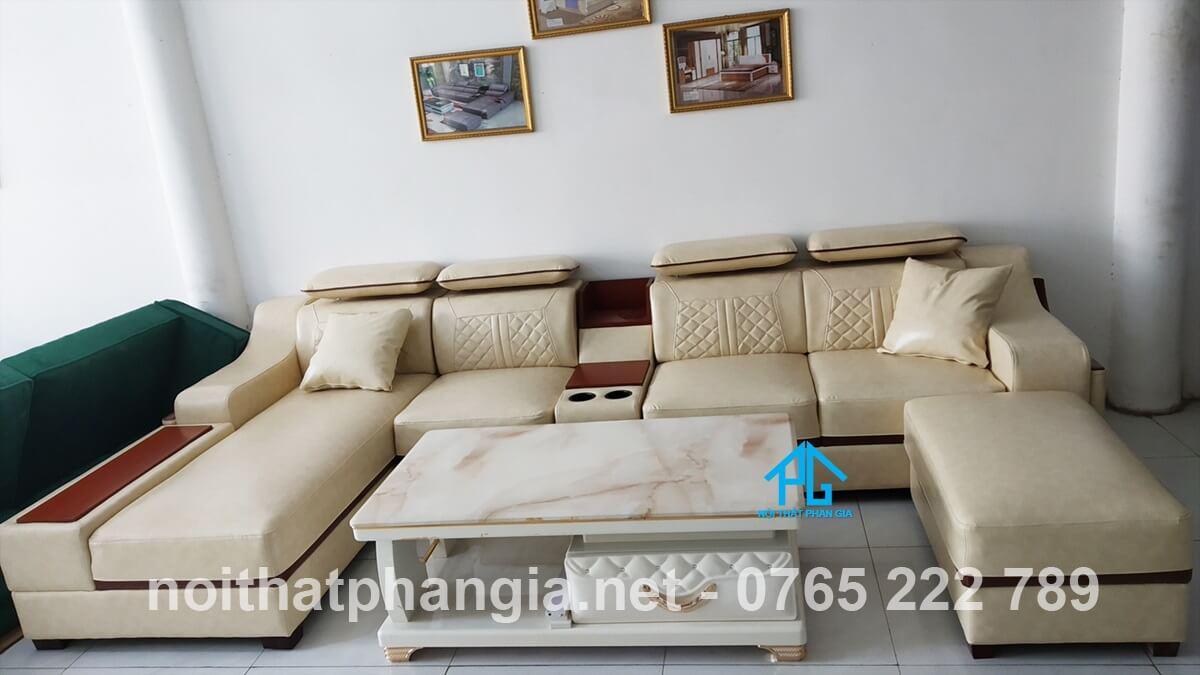 sofa da hiện đại e16b cao cấp