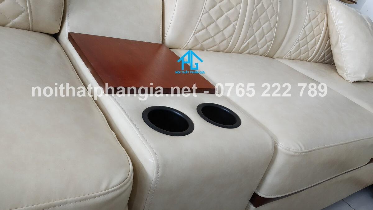 sofa da hiện đại e16b phòng khách