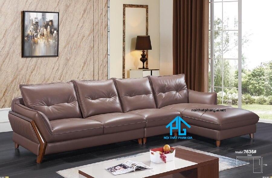Sofa da nhập khẩu cao cấp KB305 ( NÂU )