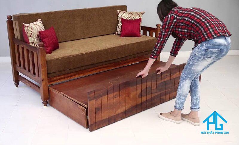 sofa giường bằng gỗ vẽ đẹp hiện đại