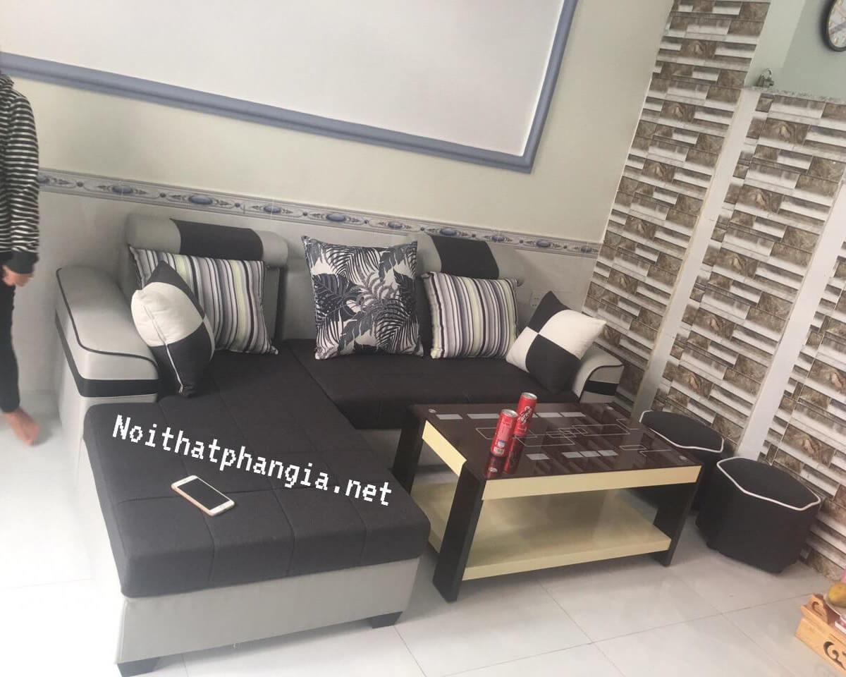 sofa góc vải bố;