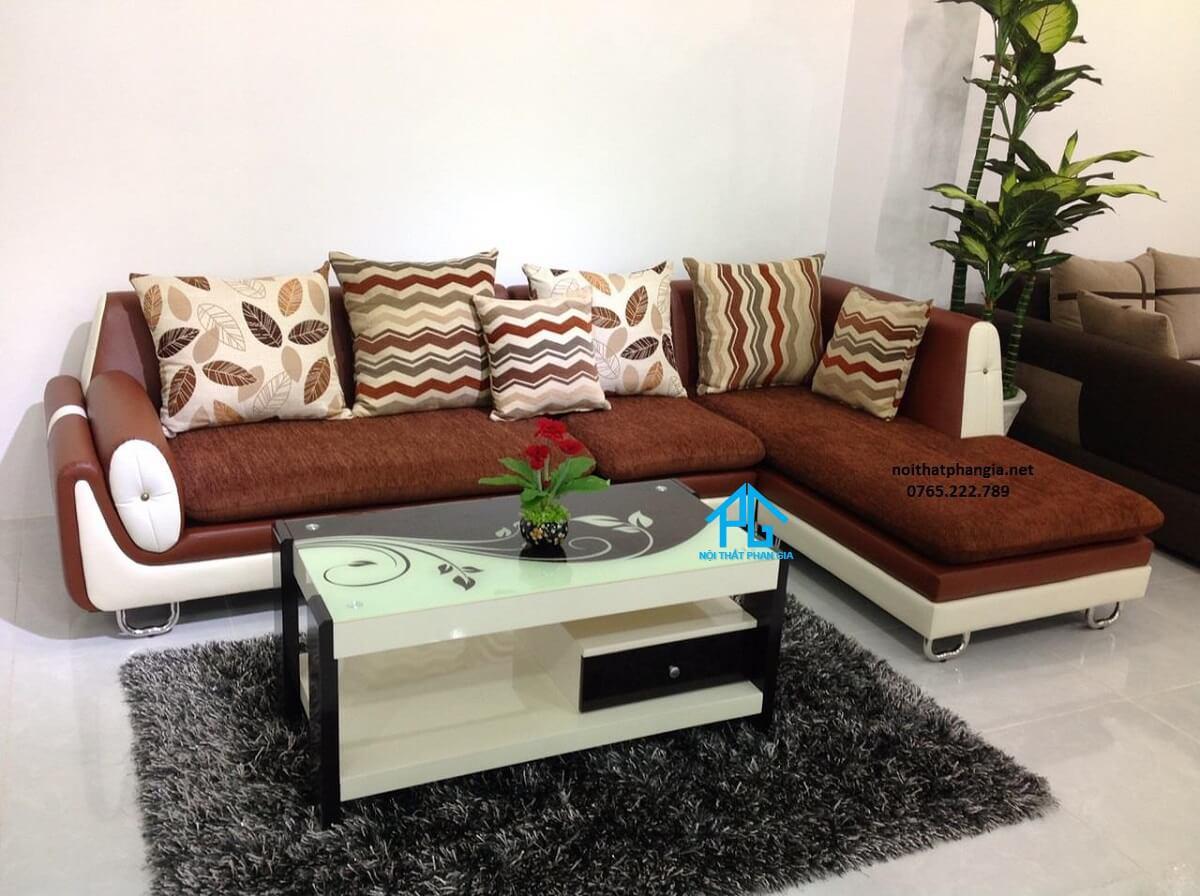 sofa vải nhung nỉ chữ L màu xám giá rẻ;