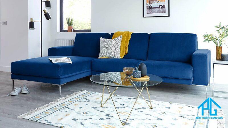 sofa vải nhung nỉ chữ L màu xám giá rẻ