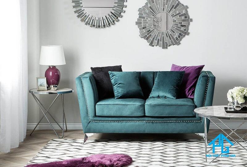 sofa vải nhung phong cách hoàng gia