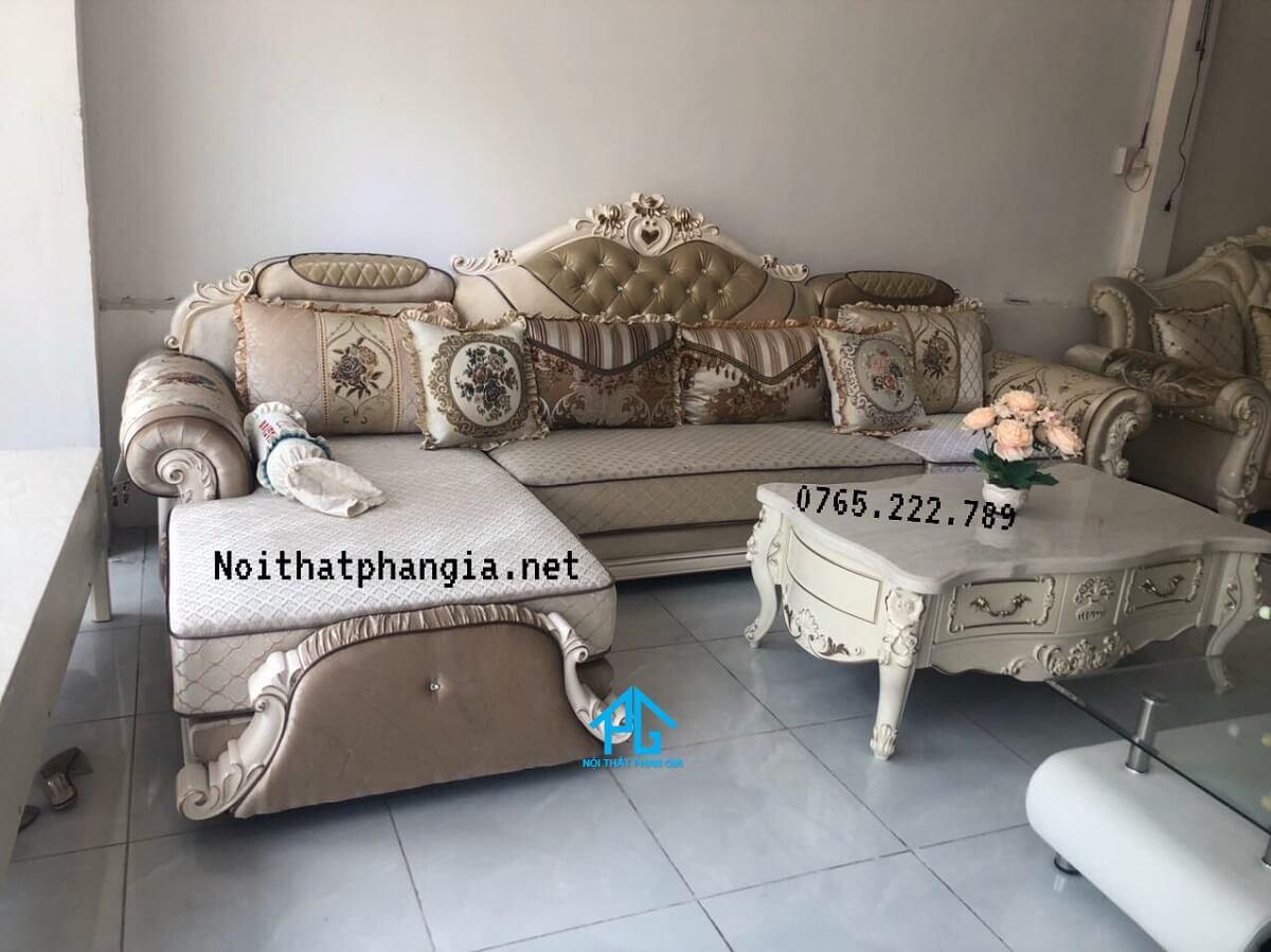 bàn ghế sofa nỉ phòng khách hiện đại;