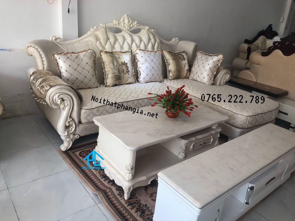 sofa vải nỉ tân cổ điển bọc vải đẹp
