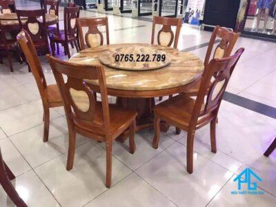 bàn ăn 6 ghế mặt đá tròn
