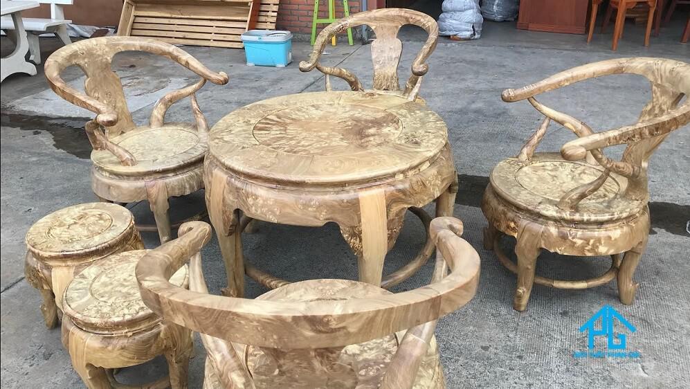 bàn ăn cơm 4 ghế tròn granite