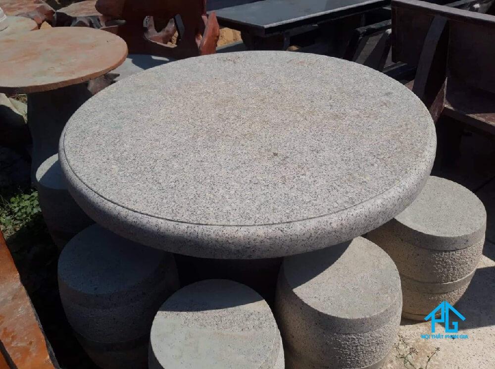bàn ăn cơm 8 ghế tròn granite