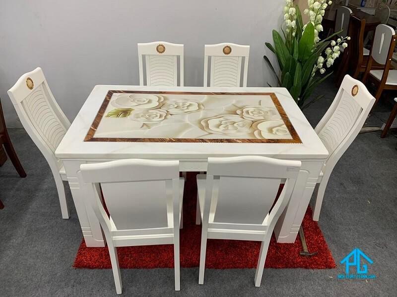 bàn ăn đá granite 6 chỗ chữ nhật