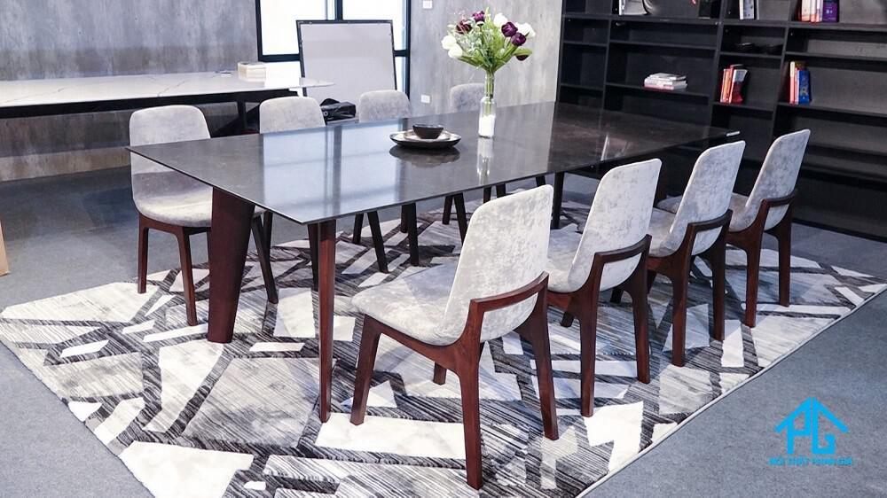 bàn ăn đá hoa cương 8 ghế