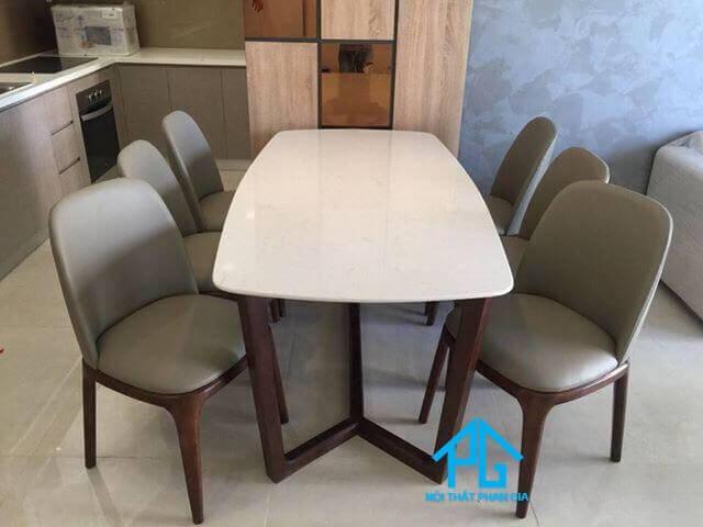 bàn ăn mặt đá hình chữ nhật 6 ghế