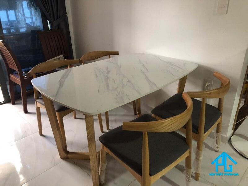 bàn ăn mặt đá marble chữ nhật 4 ghế