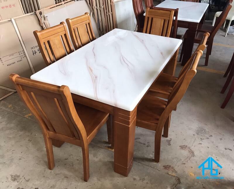 bàn ăn mặt đá marble chữ nhật 6 ghế