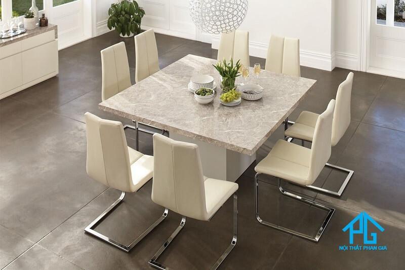bàn ăn mặt đá marble chữ nhật 8 ghế