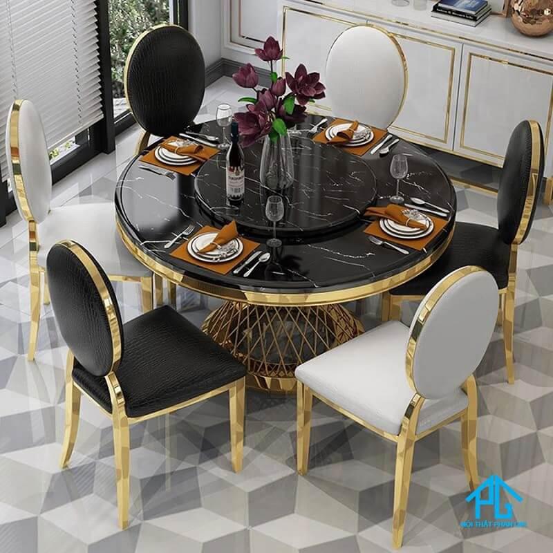 bàn ăn mặt đá marble hình tròn 6 ghế