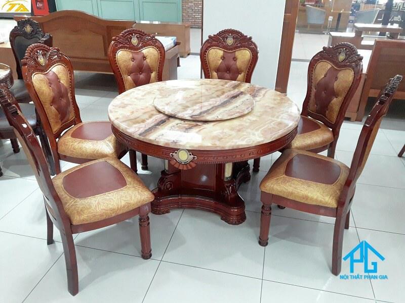 bàn ăn mặt đá marble tân cổ điển