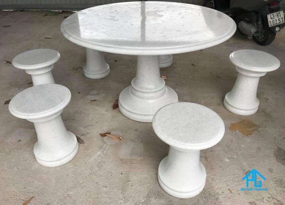 bộ bàn ăn tròn 6 ghế mặt đá granite
