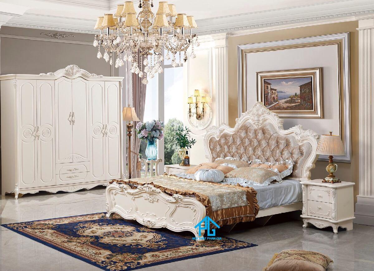 bộ giường ngủ tân cổ điển màu ngọc;