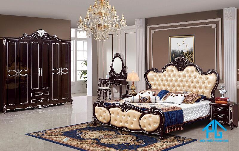 bộ giường tủ phòng ngủ tân cổ điển