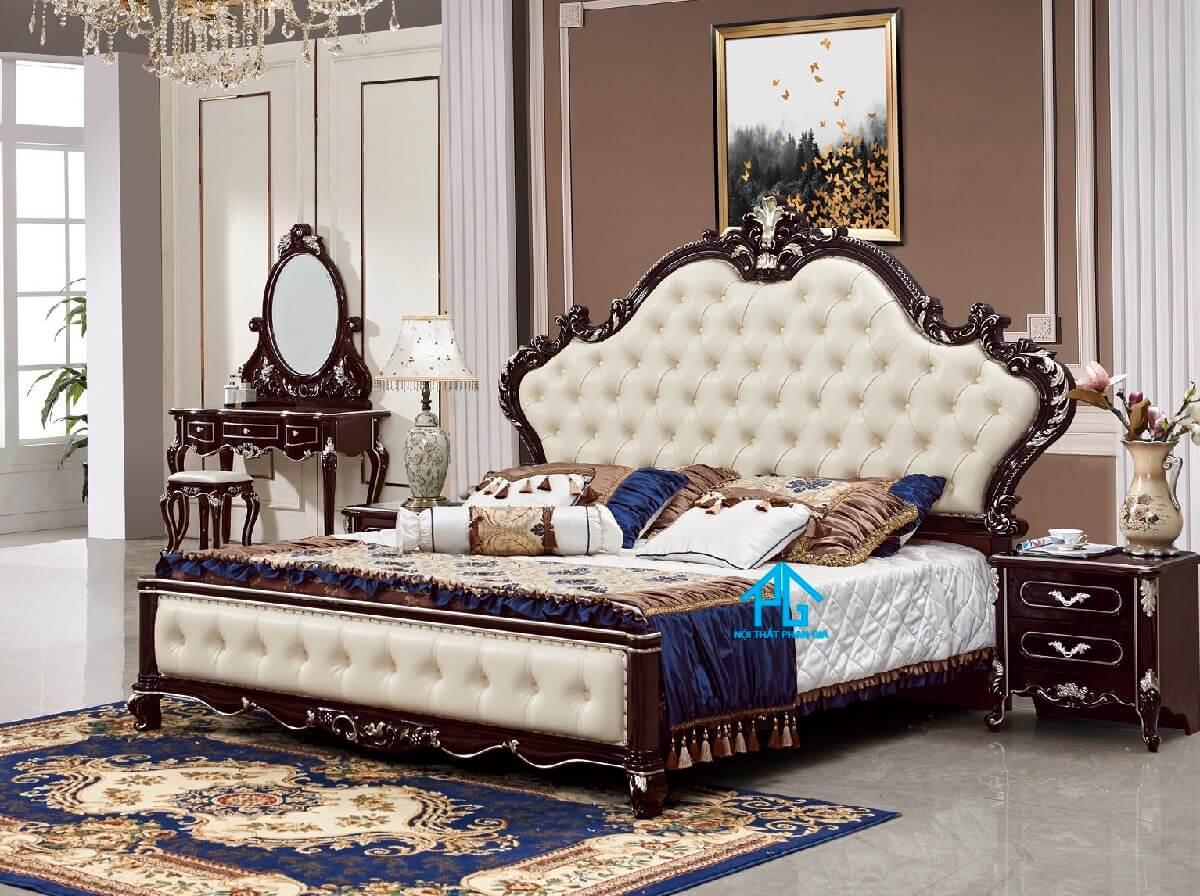 giường gỗ tân cổ điển;
