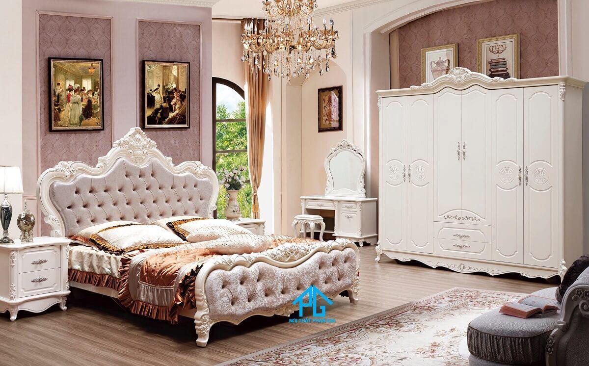 giường ngủ tân cổ điển gỗ tự nhiên;