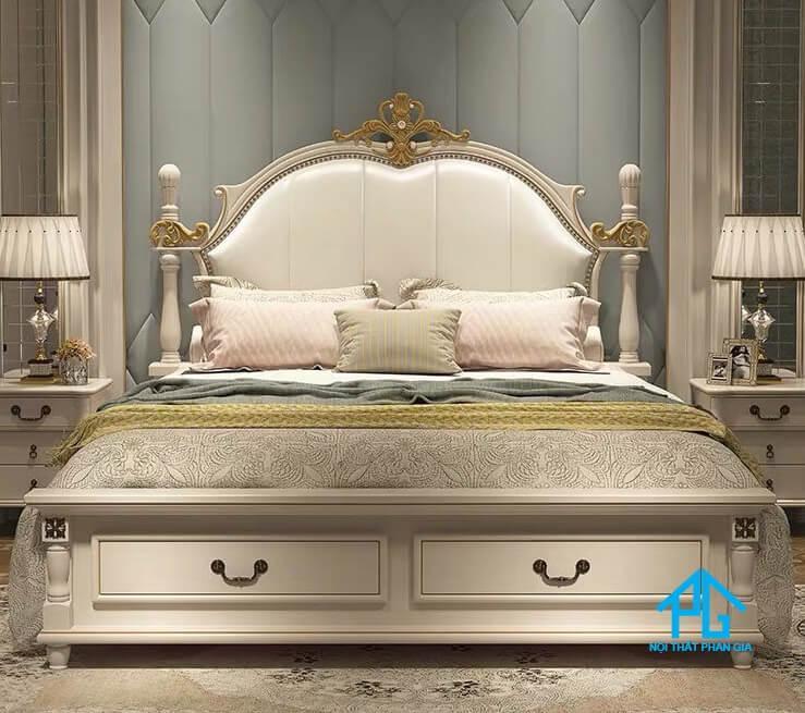 giường ngủ tân cổ điển gỗ tự nhiên