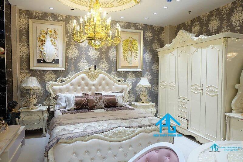 giường ngủ tân cổ điển trắng đẹp;