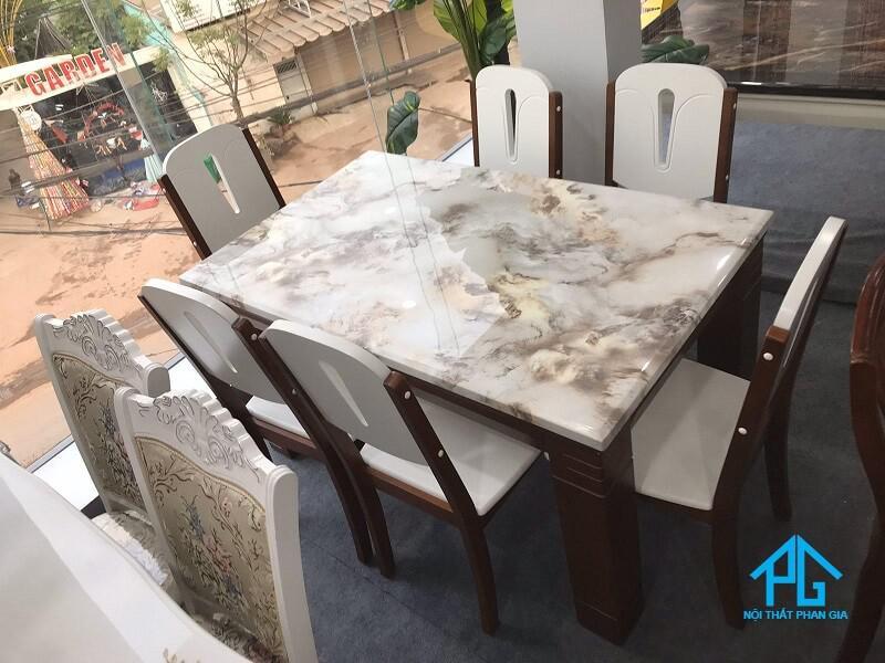 mua bộ bàn ăn mặt đá chữ nhật marble