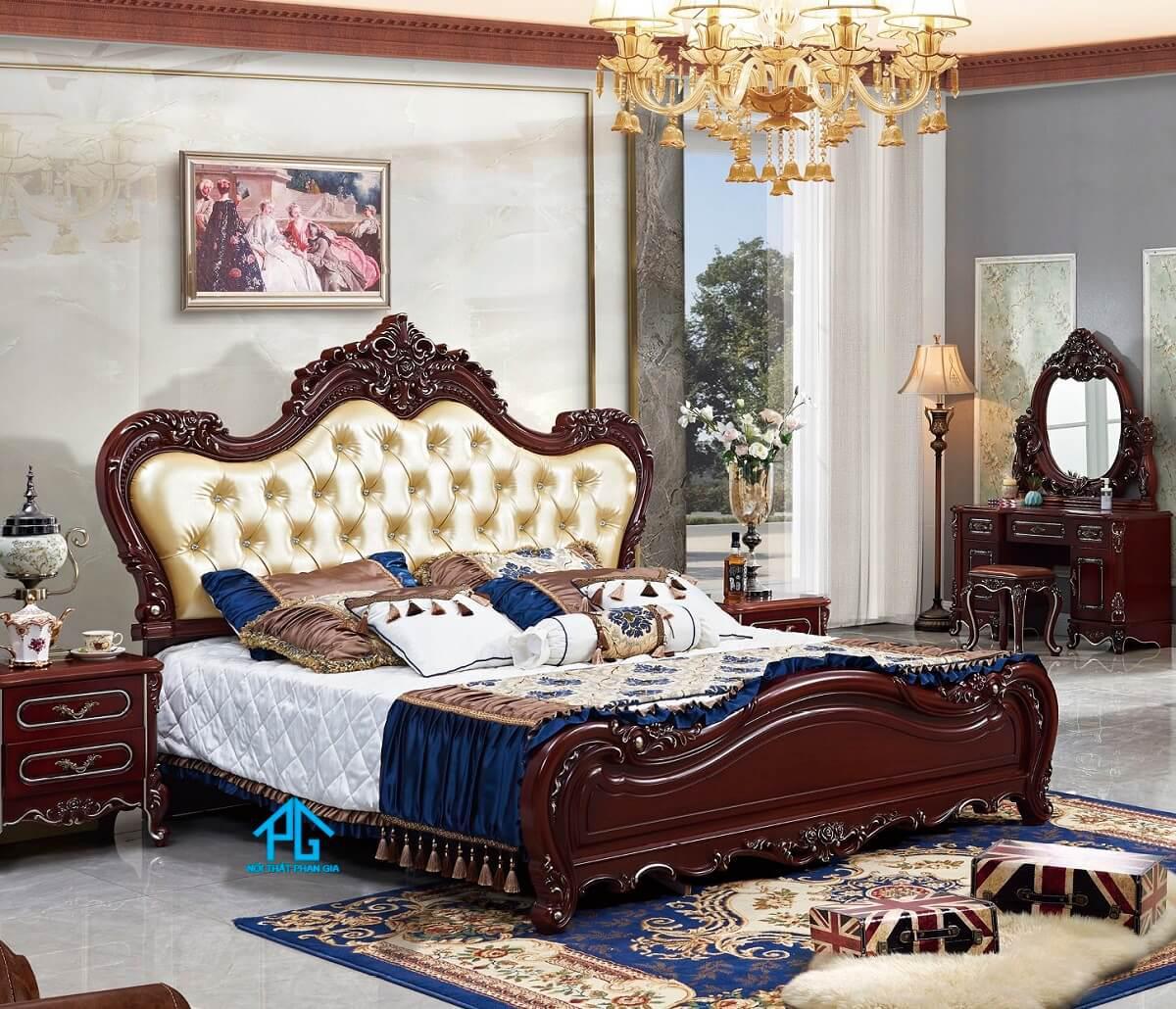 nội thất phòng ngủ tân cổ điển sắc gỗ;