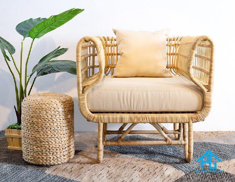 sofa đơn vintage bằng gỗ