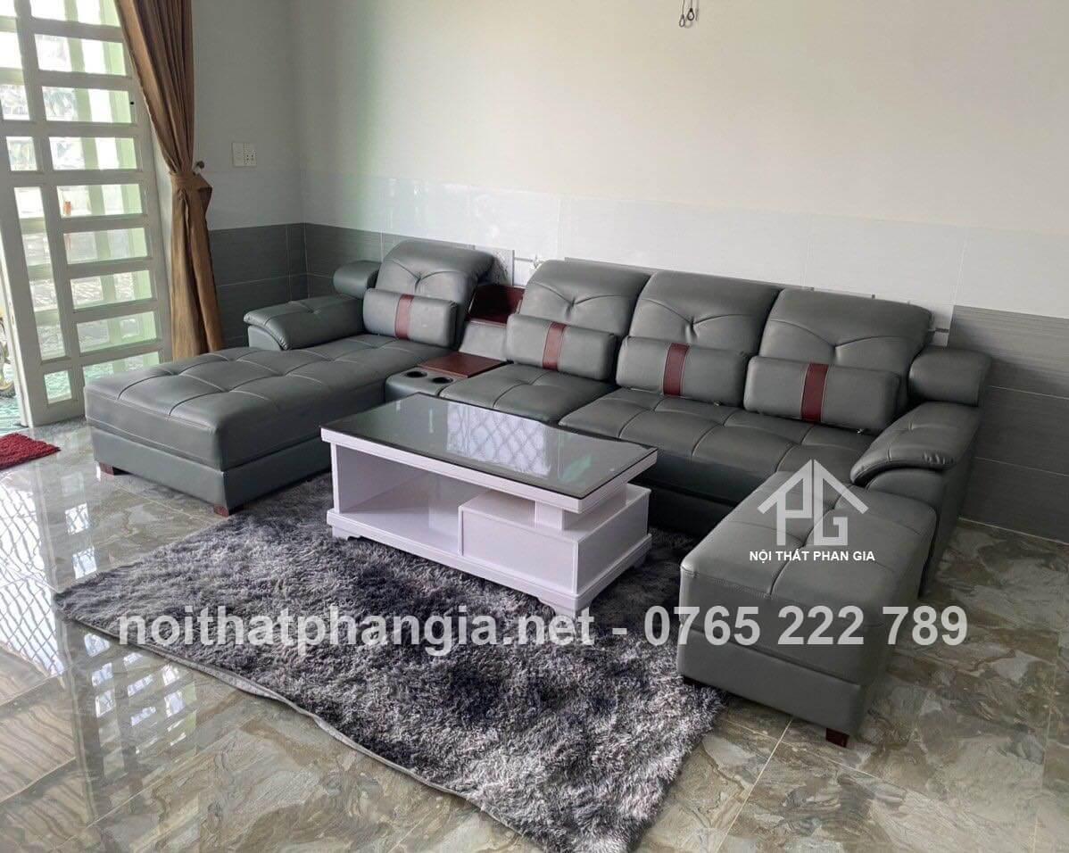 sofa da thật phòng khách nhỏ;