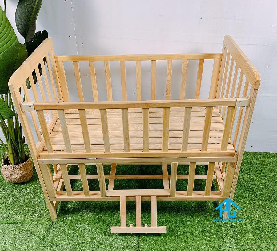 giường cũi trẻ em gỗ tự nhiên chất lượng