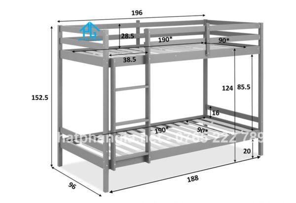 kích thước giường tầng KTX trường học