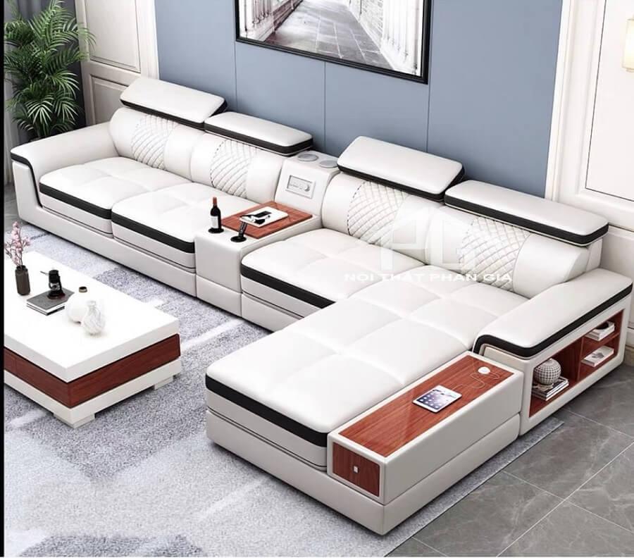 sofa da hiện đại E55
