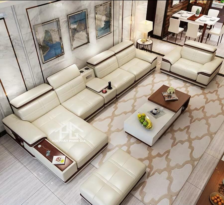 Sofa da hiện đại E56