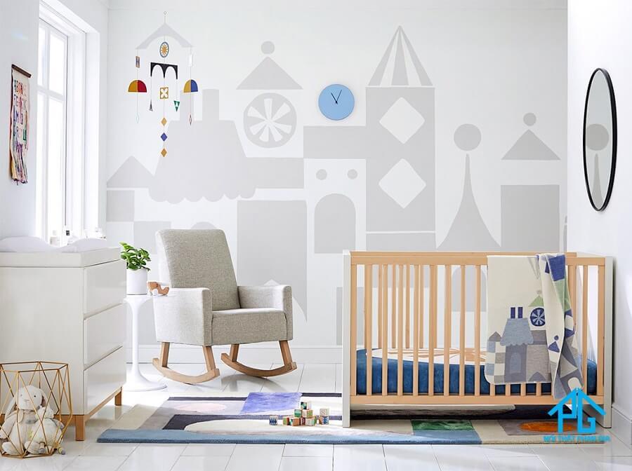 trang trí nội thất phòng của bé với giường cũi