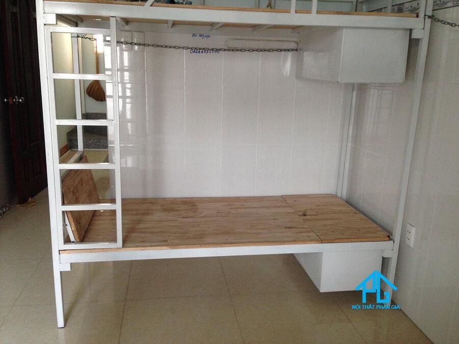 giường tầng sắt kết hợp gỗ công nghiệp mdf