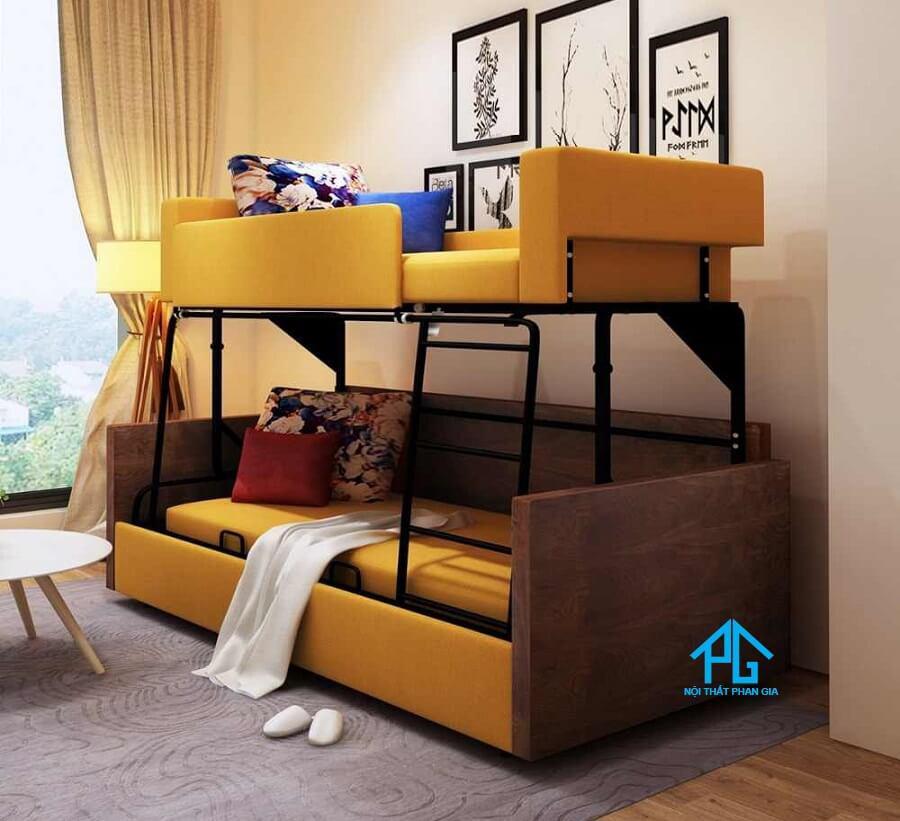 giường tầng sắt kết hợp sofa