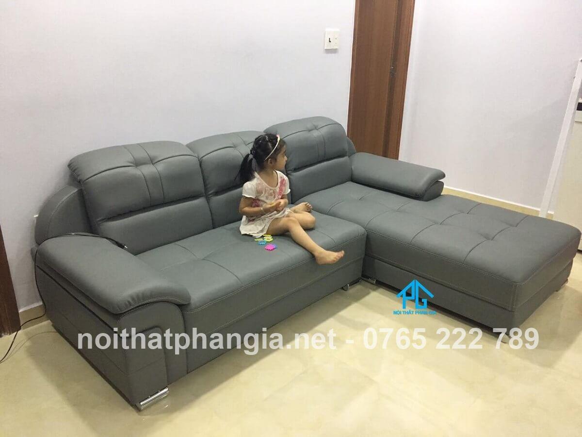 sofa da hiện đại cho nhà ống;
