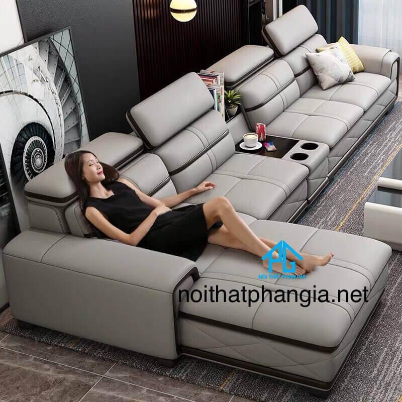 sofa da hiện đại cho nhà ống