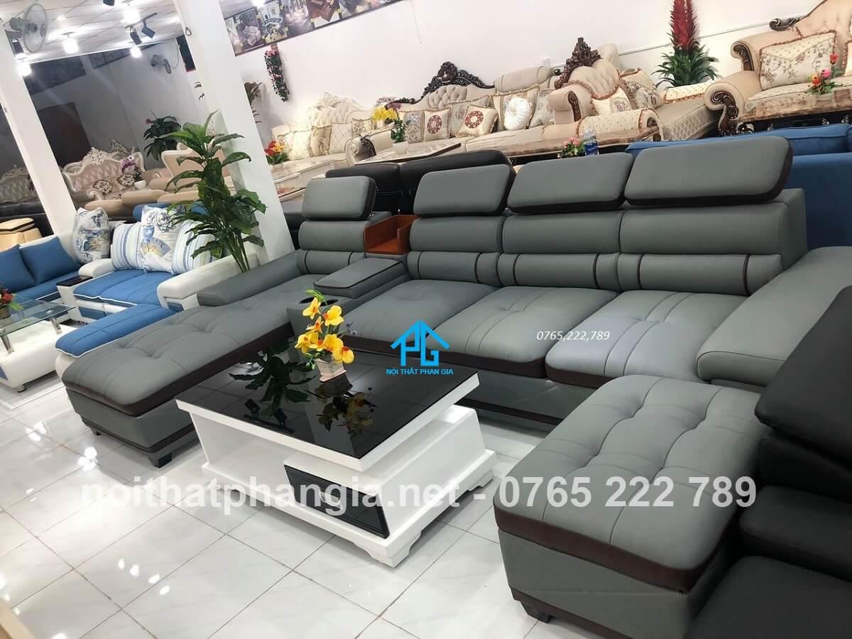 sofa da nhật hiện đại;