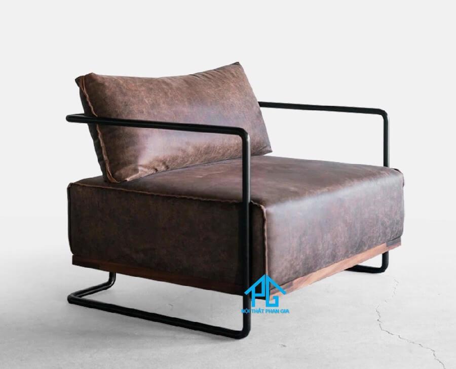 sofa đơn da microfiber khung chân sắt