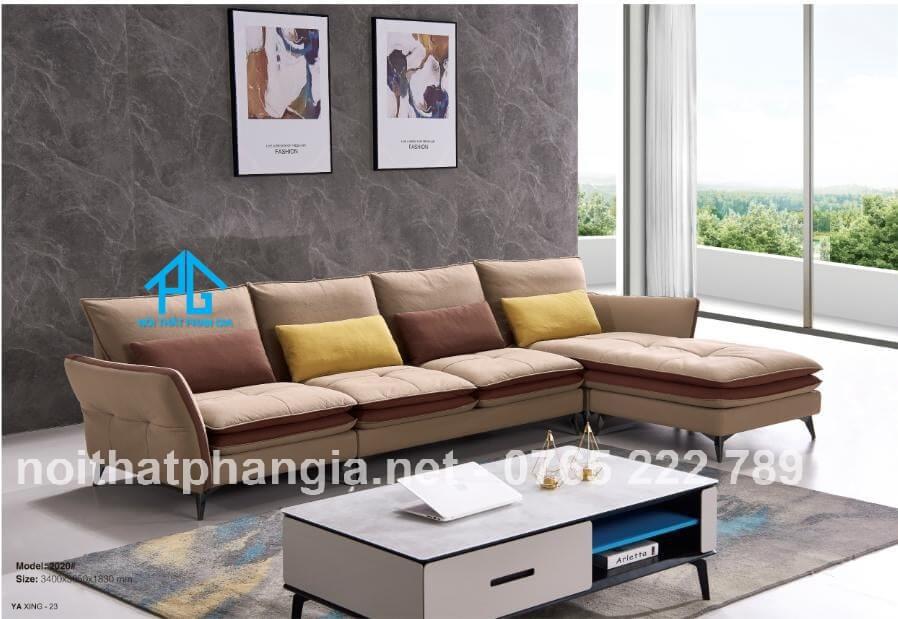 sofa góc L giả da PU